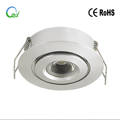 LED cabinet light, LED downlight, recessed, 12V DC, 24V DC, 1W or 3W, CREE LED