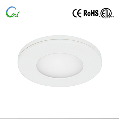 LED cabinet light, LED puck light, LED kitchen light, 12V DC, 24V DC, 3W, surface mounted or recessed mounted, with changeable meganetic trim and surface mounting ring, 7mm thickness